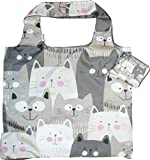 Chilino Katze Faltbare Mehrwegtasche/Umweltfreundlich/Hohe Tragkraft und Fassungsvermögen, grau, 47 x 41 cm