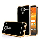 TabPow Moto E5 Plus Case, Moto E5 Supra Case, Electroplate Slim Glossy Finish, Drop Protection, Shiny Luxury Phone Case - Black Gold