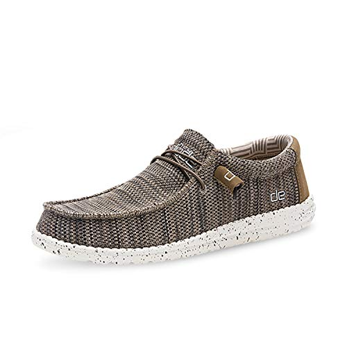 Hey Dude Wally Sox – Men's Casual Slip-On Shoes – Brown – Lightweight Comfort – Ergonomic Memory Foam Insole – Designed in Italy and California – Size EU 48 – US 15 – UK 14