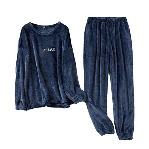 Geagodelia Set Pigiama da Coppia Invernale Pigiama in Pile Unisex Donna Uomo 2 Pezzi Maglietta + Pantaloni in Tinta Unita Abbigliamento Casa Caldo Casual Elegante (Blu Scuro, 2XL)