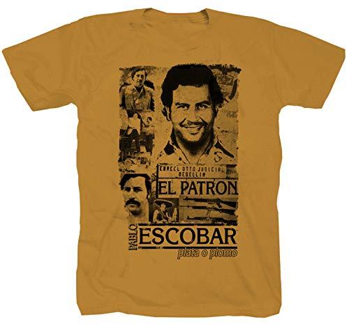 Pablo Escobar Mafia der Pate Kokain EL Chapo Kartell Medellin Narcos Shirt gelb T-Shirt L