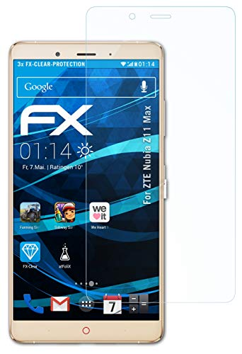 atFolix Schutzfolie kompatibel mit ZTE Nubia Z11 Max Folie, ultraklare FX Bildschirmschutzfolie (3X)