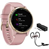 Garmin Vivoactive 4S Smartwatch Dust Rose/Gold (010-02172-31) with Voltix 2600 mAh Portable Power Bank and Deco Gear Magnetic Wireless Sport Earbuds