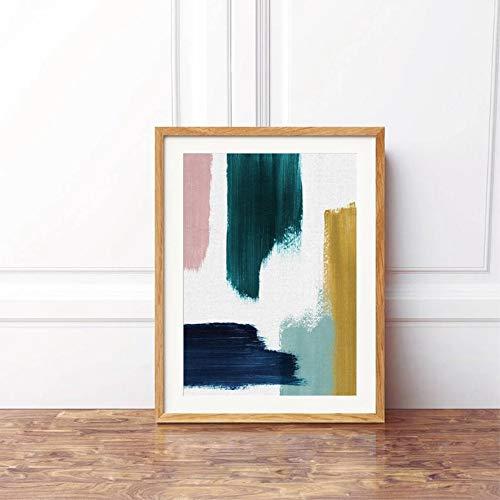 Geiqianjiumai Samenvatting met marineblauw van het blauwe groen en roodloos frameloos schilderij van het roze moderne schildersdoek van aanslagwand