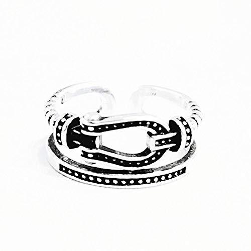 LYLLXL Offene Ringe Für Damen,Vintage Einstellbare Öffnen Silber Retro Double Layer Gürtelschnalle Twist Weihnachten Geschenk Schmuck Für Hochzeit Party Frauen Männer Coup