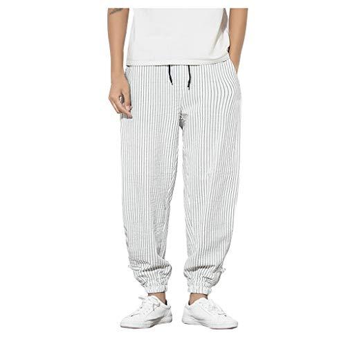 Pantaloni con Tasconi Laterali Tuta Pantaloni Piccoli Piedi Ninth Pants e La Tuta da Uomo Pantaloni Uomo Lino Pantaloni Casual Pantaloni Leggeri Estivi