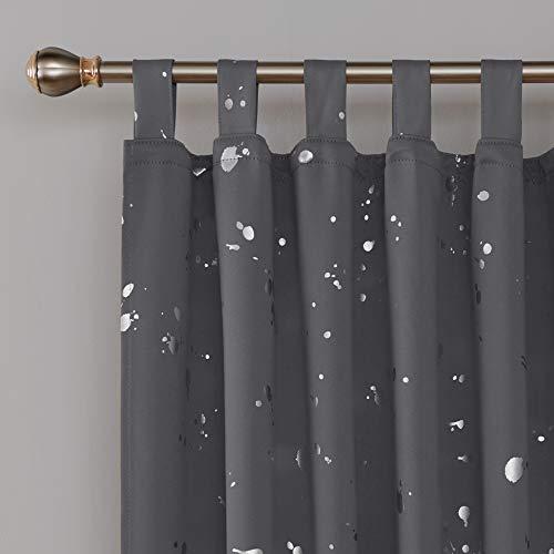 Deconovo, verduisteringsgordijnen met druppelmotief, gordijnen met lussen, afmeting 175x140 cm, kleur donkergrijs, 2-delige set, stof, kleur 175x140
