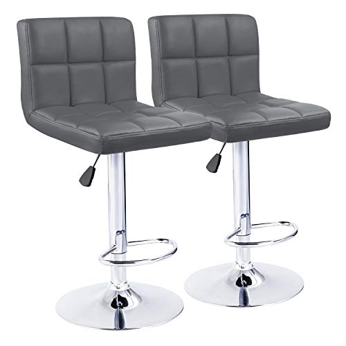 """KaiMeng Bar Stools Modern Square Counter Height Barstool 22"""" to 33"""" PU Leather Swivel Adjustable Stool with Back Set of 2 for Kitchen Dining (Grey)"""