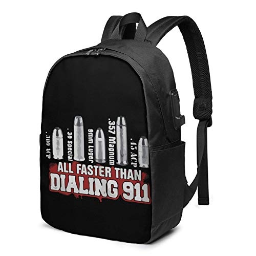 IUBBKI All Fas-Ters Than Dial-Ing 9-1-1 17 Inch Laptop Backpack For Men & Women,Travel/School Backpack With Usb Charging Port & Headphone Interface