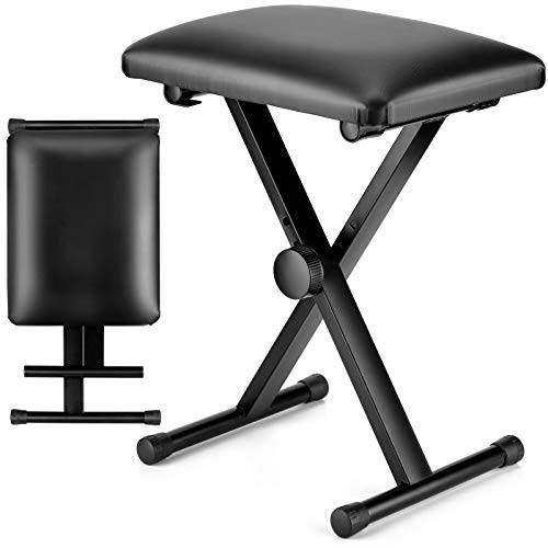 CAHAYA Keyboard Bench X-Style Adjustable Height Piano Bench Padded Keyboard Stool Chair Seat for Electronic Digital Keyboards Pianos Black