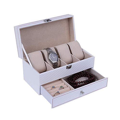 Suytan Cajas de Alenamiento de Reloj con Cerradura de Cumpleaños para Hombres Y Mujeres, Caja de Reloj, Organizador de Exhibición de Reloj, Cajón de Caja de Reloj de Joyería de Cuero,Blanco,Los 22X11