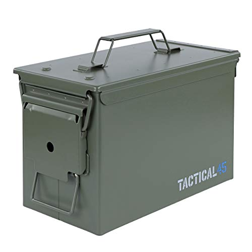 Tactical45 M2A2 50 Cal Ammo Can Army Green Ammo Storage Container with Front Latch System Steel Military Grade Ammo Case