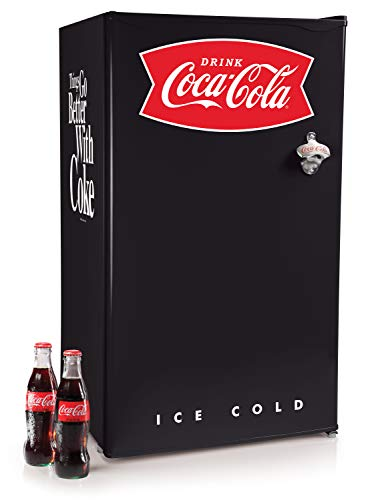 Nostalgia Coca-Cola CRF32BKCK 3.2 Cu. Ft. Refrigerator With Freezer Adjustable Temperature Cools as low as 32 Degrees, Bottle Opener, Ice Cube Tray, Scraper Included, Black