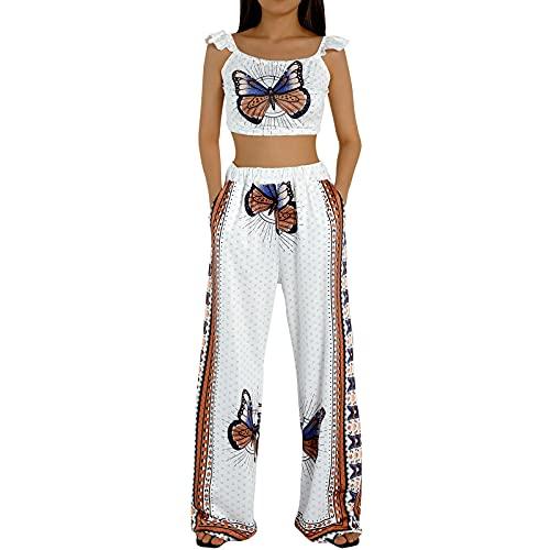 Fazulami Conjunto de 2 piezas para mujer, bohemio, con estampado de leopardo, parte superior y pantalones de pierna ancha, ropa de verano de cintura alta, estilo informal bohemio Mariposa blanca. S