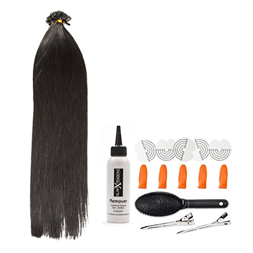 Schwarze Keratin Bonding Extensions 100% Remy Echthaar Human Hair - 100x 1g 45cm Glatte Strähnen - Lange Haare mit Keratin Bondings U-Tip Haarverlängerung Haarverdichtung-Farbe:#1 Schwarz