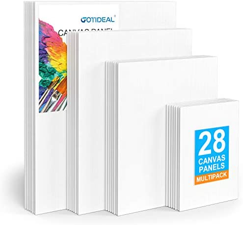 GOTIDEAL Canvas Panels Multi Pack 5x7 8x10 9x12 11x14 Set of 28 Professional Primed White Blank product image