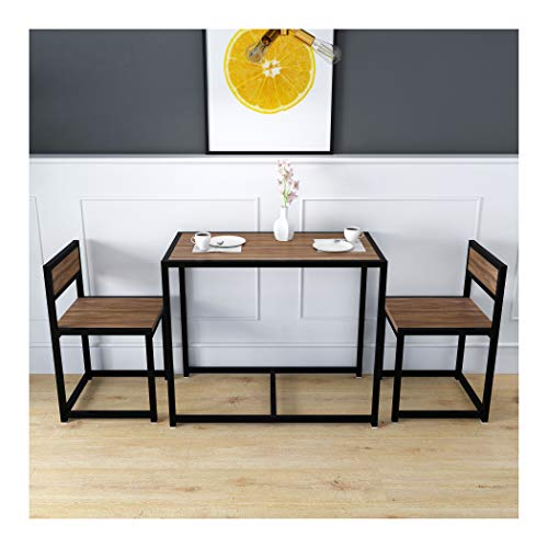 Cherry Tree Furniture CLIVE 3-Piece Dining Table & Chairs Set in Walnut Colour with Black Steel Frame