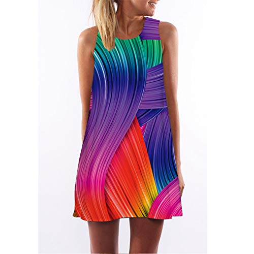 CYPZ Couleur Couture Robe personnalité été Jupe sans Manches pour Les Femmes décontracté lâche Grande Taille Chemise de Nuit-L