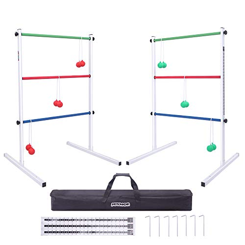 JOYMOR Upgraded Ladder Toss Game Set Metal, Ladder Ball Game Set with 6 Bolo Balls, Carrying Case and Score Trackers, for Parties Tailgates Camping