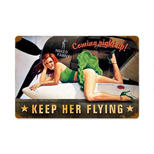 ZMKDLL Keep Her Flying Pin Up Girl Tin Metal Sign Bomber Nose Art Airplane WWII War Art Vintage Tin Sign 12x16 Inch