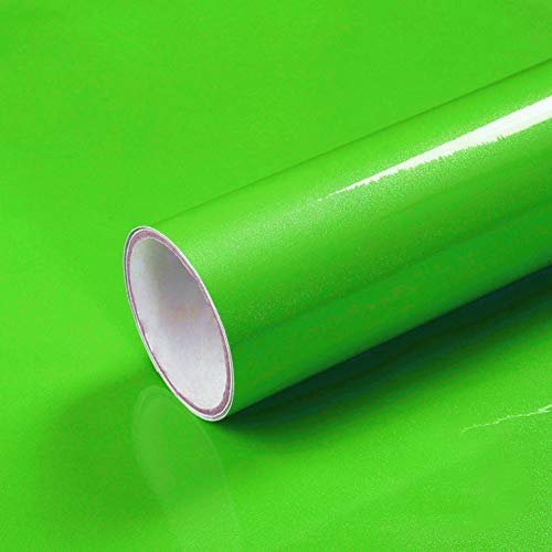 LaCheery Green Contact Paper Decorative Self Adhesive Wall Paper 12'x160' Glitter Wallpaper Stick and Peel Cabinet Contact Paper Removable Wallpaper for Kids Room Dresser Countertops Table Furniture