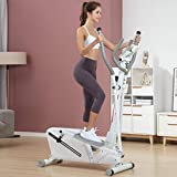Elliptical Machine, Portable Magnetic Ellptical Exercise Machine with LCD Display for Home Office Use, Armrest 2-in-1 Elliptical Stepper Trainer (White)