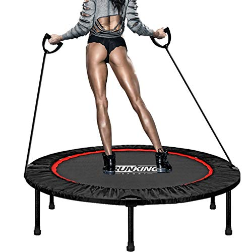 QIUSge Trampoline for Jumping Adults 48in Foldable Large Fitness Trampoline Rebounder Exercise Workout Indoor Outdoor Elastic Rope Trainer Sports Tool (Black)