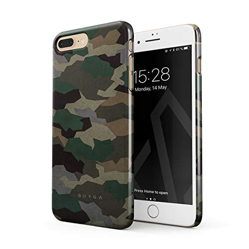 BURGA Cover per iPhone 7 Plus / 8 Plus - Militare Verde Camuffamento Green Camo Camouflage Design Sottile Guscio Resistente in Plastica Dura Custodia Protettiva