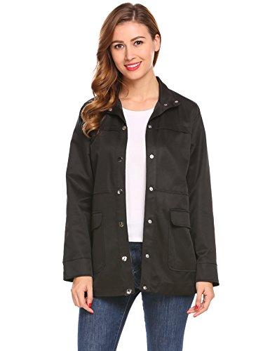 Meaneor Damen Mantel Dünne Jacke Outerwear wie Jeansjacke mit Knöpfe Hoher Kragen Taille mit Gummiband Frühling Herbst- Gr. EU...