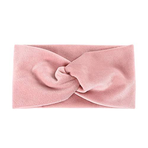 Turbante Cerchietti Fascia per Capelli Fascia in Velluto A Tesa Larga retrò per Donna Fascia per Capelli A Croce Tinta Unita Moda Twist Turbante Accessori per Capelli Femminili Rosa