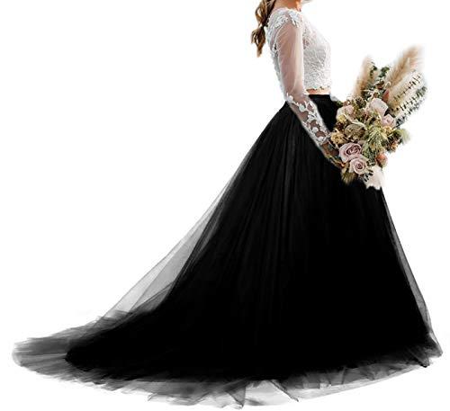 Women Wedding Long Maxi Tulle Skirt Floor Length with Detachable Train Bridal Overskirt (Black, Medium,US 4-16)