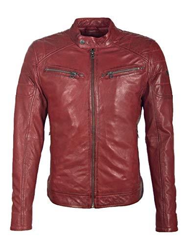 Gipsy GBPanuk NSLV Herren Bikerjacke aus Lammleder (L, Rot)