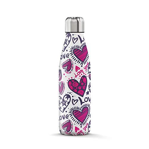 THE STEEL BOTTLE - Botella térmica de acero inoxidable, aislamiento al vacío de doble pared, capacidad 500 ml, cierre hermético, botella portátil