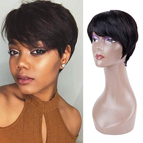 Queentas® Pixie Cut Short Human Hair Pruiken met gratis pony aan de zijkant voor zwarte vrouwen (Natural Black # 1B)