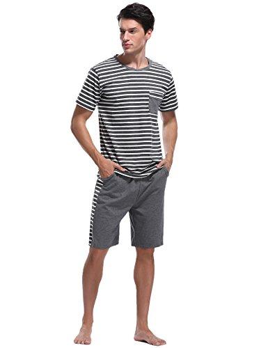 iClosam Herren Schlafanzug Kurz Baumwolle Sommer,Zweiteiliger Pyjama Streifen Sleepwear Loungewear Bequem und Atmungsaktiv S-XXL