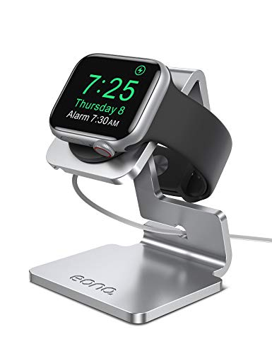 Eono by Amazon - Supporto per Apple Watch, Stazioni di Ricarica : Notturno Stand Dock Gestione Cavi per Apple Watch Series SE, 6, 5, 4, 3, 2, 1, iWatch 44mm / 42mm / 40mm / 38mm - Argento