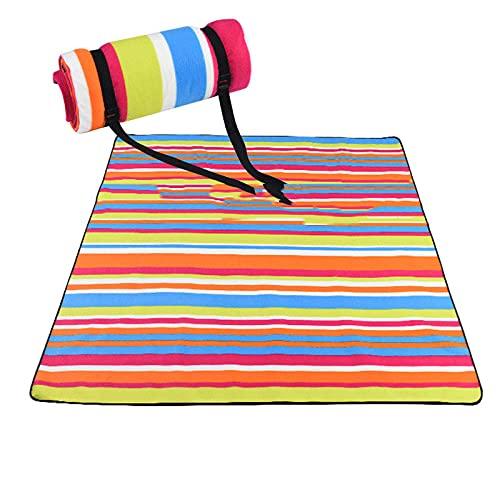 KaO26YaN Manta de Picnic Plegable, Respaldo Impermeable para Vacaciones en la Playa al Aire Libre 200 x 200 cm Estera de Camping, Manta Plegable portátil para Exteriores a Prueba de Arena-color1