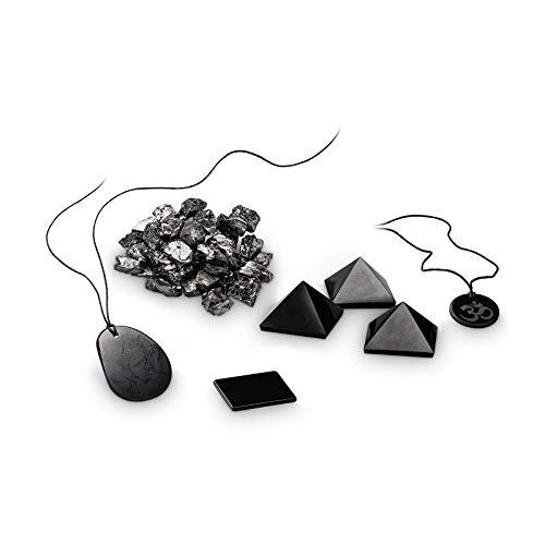 SoulStones 50g große Edelschungit-Steine & Halsketten | 4cm Schungitpyramiden | Smartphone-Schutz | Bovis | Shungite | Schungit | Wasseraufbereitung | Antioxidantien | Fullerene | C60