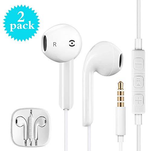 In-ear hoofdtelefoon, 2 stuks in-ear oordopjes, headsets oordopjes oordopjes met microfoon compatibel met alle 3,5 mm jackplug smartphone en MP3-speler