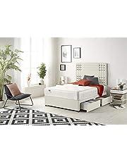 Bed Centre Flexby Divan zestaw łóżek z pianką z pamięcią sprężynową, 2 szuflady (jednostronna strona) z zagłówkiem dostępne w różnych materiałach i kolorach 9,5 m, 1,2 m i 1,2 m (1,2 m mały podwójny, pluszowa kość słoniowa)
