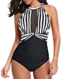 Tempt Me Women One Piece Swimsuits Black White Stripe Plunge Mesh...