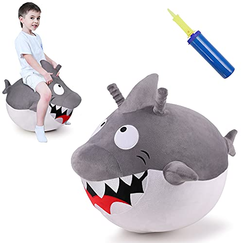 iPlay, iLearn Bouncy Pals Kids Great White Shark Hopper Ball, Toddler Ride on Bounce Toy, Outdoor Inflatable Jumping Animal W  Handle, Bouncing Hop Jumper, Birthday Gift for 2 3 4 5 Year Old Boy Girl