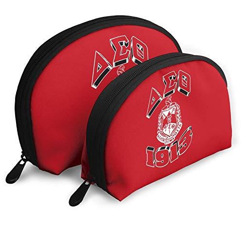 Delta Sigma Theta 1913 Fashion Cosmetic Bags Portable Bag Clutch Pouch Beauty Case set Women Men Travel Purse with Zipper Handbag Organizer 2pcs