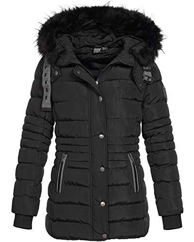 Geographical Norway Daleo - Chaqueta de invierno acolchada con capucha de piel para mujer