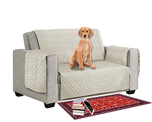 MIA we dress your home Sofaschoner, wendbar, rutschfest, von Haustieren/Hunden/Kindern, Sofabezug, 2-Sitzer, Sofaüberzug, Möbelschutz, weich gesteppt, mit rutschfestem Gurt
