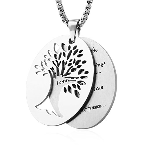 HZMAN Two Piece Serenity Prayer Stainless Steel Pendant Necklace with Tree of Life Cut Out (Silver) Jewelry Necklaces
