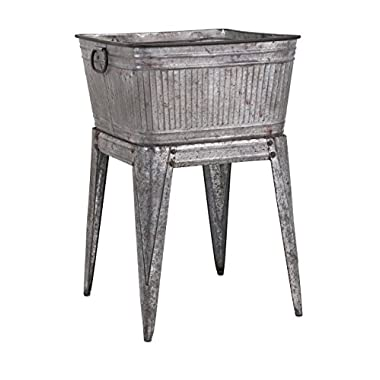 Imax 65345 Perryman Galvanized Tub on Stand. Lightweight Iron Beverage Tub - Use for Keeping Pets, Holding Firewood, Displaying Vegetables, Storing Wines. Multi Utility Tubs