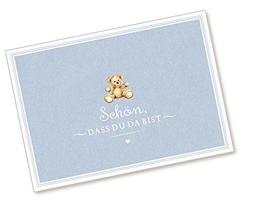 Postkarte Babykarte Glückwunschkarte zur Geburt mit TEDDY IN BLAU SCHÖN, DASS DU DA BIST Zur Taufe und Geburt