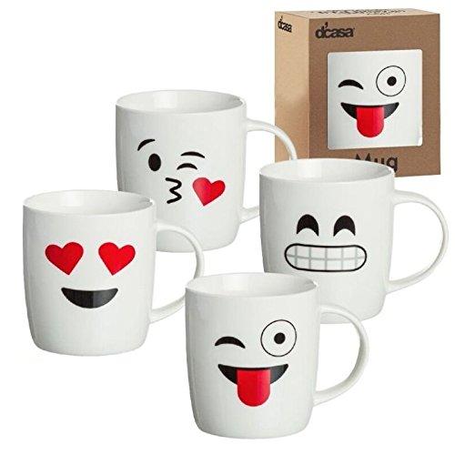 dcasa - Tazas original diseño EMOTICONOS romanticas Pack de 4 mug