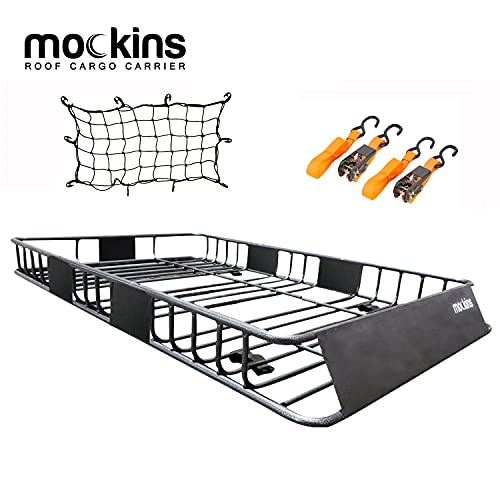 Mockins Roof Rack Rooftop Cargo Carrier with Bungee Net | The Steel Luggage Rack is 64' Long X 39'...